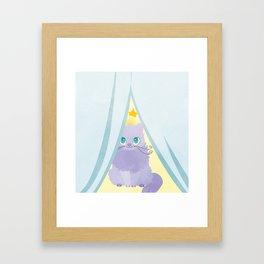 Curtains Kitty Framed Art Print