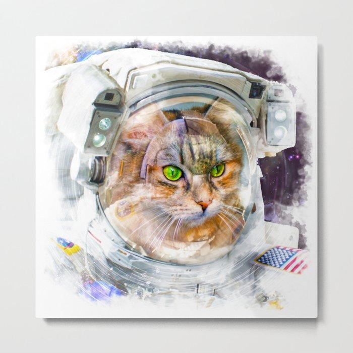 Space Cat Watercolor Metal Print