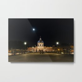 People walking on Pont des Arts at nigth - Paris Metal Print
