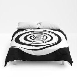 Black White Circles Optical Illusion Comforters