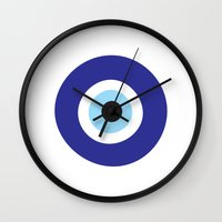 evil eye Wall Clocks featuring Evil Eye by Deadly Designer