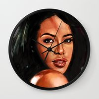 aaliyah Wall Clocks featuring At Your Best by Tetevi Teteh