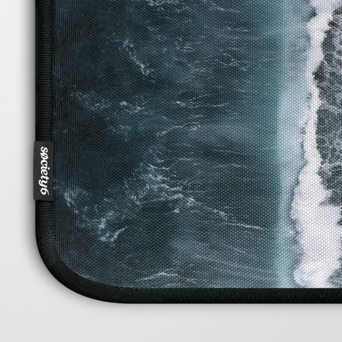 Aerial of a Black Sand Beach with Waves - Oceanscape Laptop Sleeve