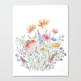 wild flower bouquet and blue bird- ink and watercolor 2 Canvas Print