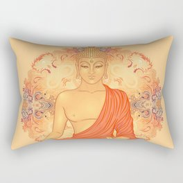 Sitting Buddha over ornate mandala round pattern Rectangular Pillow