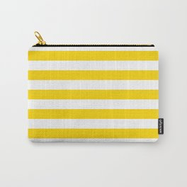 Narrow Horizontal Stripes - White and Gold Yellow Carry-All Pouch