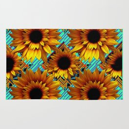 ANTIQUE GOLDEN SUNFLOWER TURQUOISE MODERN ART Rug
