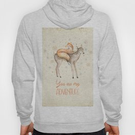 You are my adventure- fox and deer in winter- merry christmas Hoody
