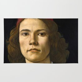 "Sandro Botticelli ""Portrait of a Young Man"" (II) Rug"