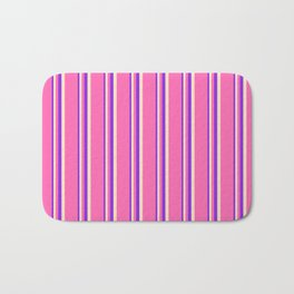 Purple, Bisque, and Hot Pink Colored Stripes Pattern Bath Mat