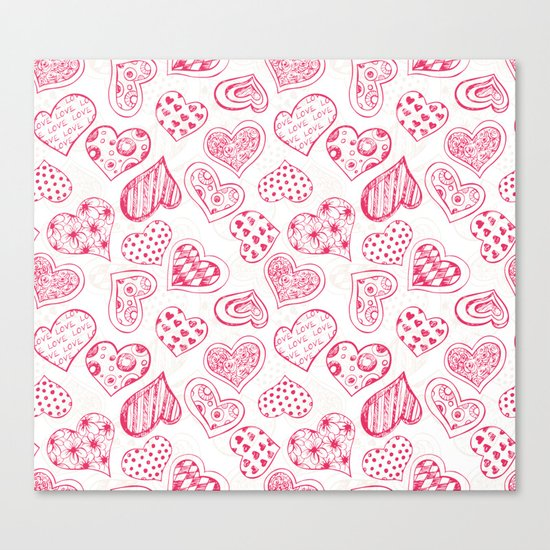 Pattern with red hearts Canvas Print