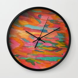 Rainbow Sherbet Abstract Painting Wall Clock