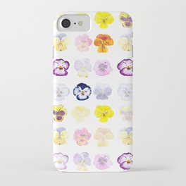 colorful pansies watercolor painting iPhone Case