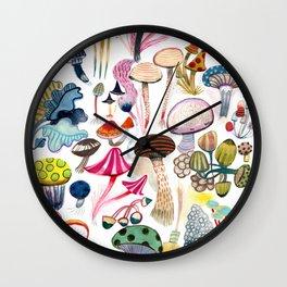 Mushroom Collection - b r i g h t s Wall Clock