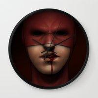 daredevil Wall Clocks featuring daredevil by Sylvie R.