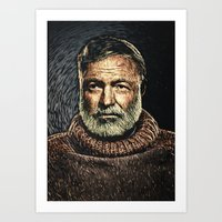 hemingway Art Prints featuring Ernest Hemingway by Taylan Soyturk