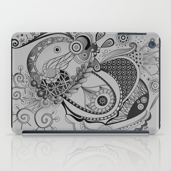 Ornate spring tangle, charcoal grey iPad Case