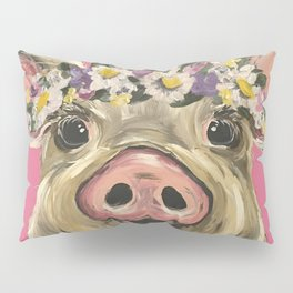 Flower Crown Pig, Farm Animal Art, Cute Pig Pillow Sham