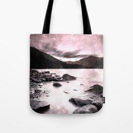 Magical Mountain Lake Pink & Gray Tote Bag