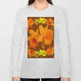 YELLOW SPRING DAFFODILS & COFFEE BROWN COLOR ART Long Sleeve T-shirt