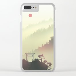 Red sunset in the Japan mountains Clear iPhone Case