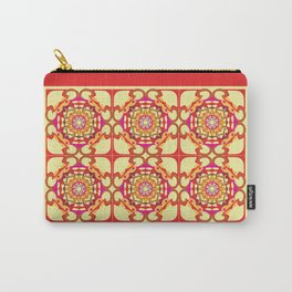 World Citizen Mandala Tiled - Red Yellow Carry-All Pouch