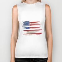 american flag Biker Tanks featuring American Flag by Jenny Highsmith