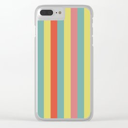 Vertical tropical paradise stripes sunny turquoise lines Clear iPhone Case