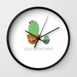 Love Grows Here Wall Clock