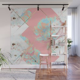 Abstract Blush Geometric Peonies Flowers Design Wall Mural