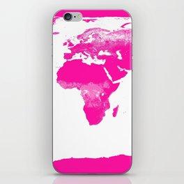 World Map Hot Pink iPhone Skin