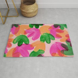 Vibrant Acrylic Painting Layered Tulips Floral Pattern Multi Colors Green Pink Orange Large Brush Rug