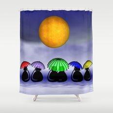 mooncats -7- Shower Curtain