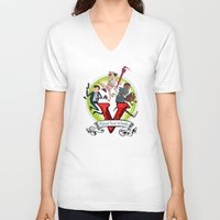 gta v V-neck T-shirts featuring GTA TIME!! by Philtomato