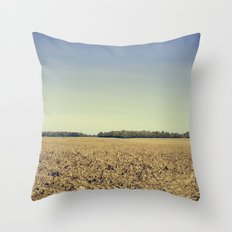 Lonely Field in Blue Throw Pillow