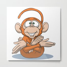 Monkey yoga embryo pose Metal Print