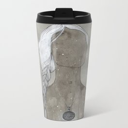 girl with silver oval telkari necklace Metal Travel Mug