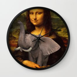 Mona Lisa With Elephant Wall Clock