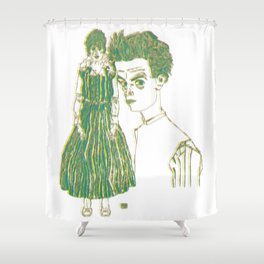 Egon and Edith Schiele Striped Shower Curtain