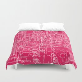 London! Hot Pink Duvet Cover