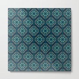 Retro Floral Geometric Tile / Pine Green Metal Print