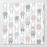 bunnies Canvas Prints featuring BUNNIES by Catalina Graphic
