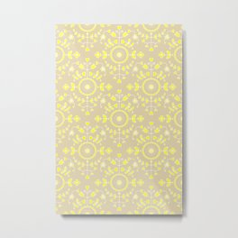 Boho Floral - Yellow Neutral Metal Print