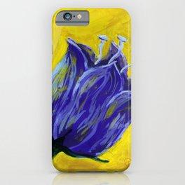 Purple tulip on yellow, acrylic painting iPhone Case