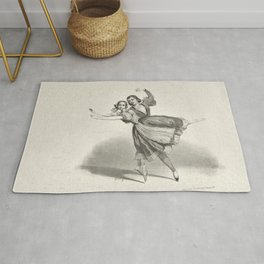 The Dancers, young man and woman, graphite, black white Rug