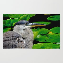 Blue Heron at the pond Rug