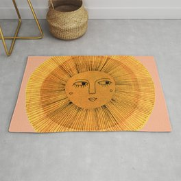 Sun Drawing Gold and Pink Rug