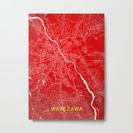 Warszawa map Metal Print