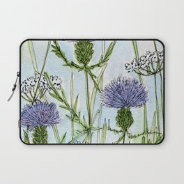 Thistle White Lace Watercolor Laptop Sleeve