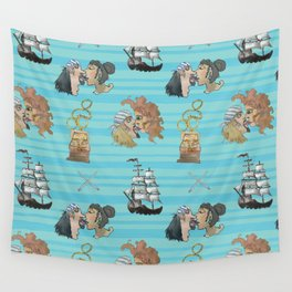 Celebration on Board - Turquoise Wall Tapestry